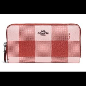 Coach Buffalo Plaid Print Accordion Zip Wallet